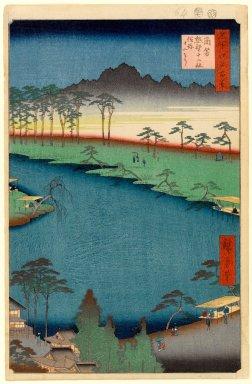 Utagawa Hiroshige (Ando) (Japanese, 1797-1858). Kumano Junisha Shrine, Tsunohazu, No. 50 in One Hundred Famous Views of Edo, 7th month of 1856. Woodblock print, Sheet: 14 3/16 x 9 3/16 in. (36 x 23.3 cm). Brooklyn Museum, Gift of Anna Ferris, 30.1478.50