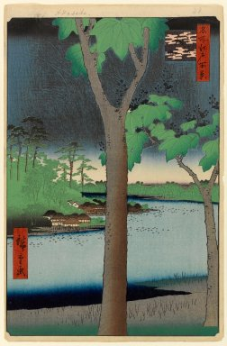Utagawa Hiroshige (Ando) (Japanese, 1797-1858). Akasaka Kiribatake, No. 52 from One Hundred Famous Views of Edo, 4th month of 1856. Woodblock print, Sheet: 14 1/4 x 9 5/16 in. (36.2 x 23.7 cm). Brooklyn Museum, Gift of Anna Ferris, 30.1478.52