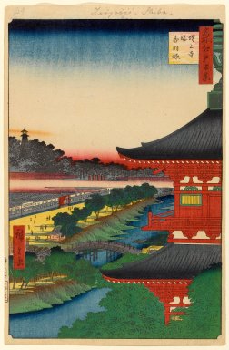 Utagawa Hiroshige (Ando) (Japanese, 1797-1858). Zojoji Pagoda and Akabane, No. 53 from One Hundred Famous Views of Edo, 1st month of 1857. Woodblock print, Sheet: 14 1/4 x 9 5/16 in. (36.2 x 23.7 cm). Brooklyn Museum, Gift of Anna Ferris, 30.1478.53
