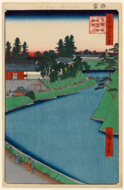 Utagawa Hiroshige (Ando) (Japanese, 1797-1858). Benkei Moat From Soto-Sakurada to Kojimachi, No. 54 from One Hundred Famous Views of Edo, 5th month of 1856. Woodblock print, Sheet: 14 5/16 x 9 5/16 in. (36.4 x 23.7 cm). Brooklyn Museum, Gift of Anna Ferris, 30.1478.54