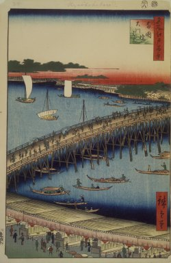 Utagawa Hiroshige (Ando) (Japanese, 1797-1858). Ryogoku Bridge and the Great Riverbank, No 59 from One Hundred Views of Edo, 8th month of 1856. Woodblock print, Image: 13 1/2 x 8 3/4 in. (34.3 x 22.2 cm). Brooklyn Museum, Gift of Anna Ferris, 30.1478.59