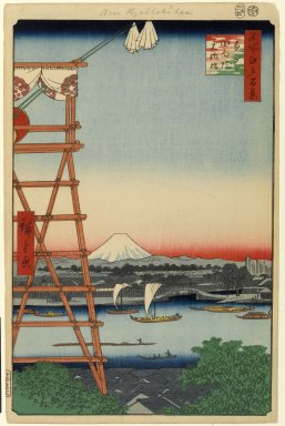 Utagawa Hiroshige (Ando) (Japanese, 1797-1858). Ryogoku Ekoin and Moto-Yanagibashi Bridge, No. 5 in One Hundred Famous Views of Edo, 5th month of 1857. Woodblock print, Image: 13 3/8 x 8 3/4 in. (34 x 22.2 cm). Brooklyn Museum, Gift of Anna Ferris, 30.1478.5