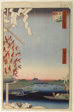 Utagawa Hiroshige (Ando) (Japanese, 1797-1858). Asakusa River, Great Riverbank, Miyato River, No. 60 from One Hundred Famous Views of Edo, 7th month of 1857. Woodblock print, Sheet: 14 5/16 x 9 5/16 in. (36.4 x 23.7 cm). Brooklyn Museum, Gift of Anna Ferris, 30.1478.60