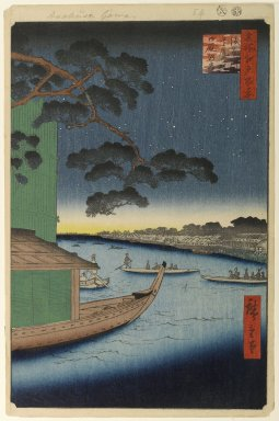 Utagawa Hiroshige (Ando) (Japanese, 1797-1858). Pine of Success and Oumayagashi, Asakusa River, No. 61 from One Hundred Famous Views of Edo, 8th month of 1856. Woodblock print, Sheet: 14 1/4 x 9 5/16 in. (36.2 x 23.7 cm). Brooklyn Museum, Gift of Anna Ferris, 30.1478.61
