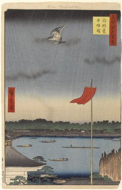 Utagawa Hiroshige (Ando) (Japanese, 1797-1858). Komakata Hall and Azuma Bridge, No. 62 from One Hundred Famous Views of Edo, 1st month of 1857. Woodblock print, Sheet: 14 1/4 x 9 3/16 in. (36.2 x 23.3 cm). Brooklyn Museum, Gift of Anna Ferris, 30.1478.62