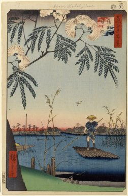 Utagawa Hiroshige (Ando) (Japanese, 1797-1858). Ayase River and Kanegafuchi, No. 63 from One Hundred Famous Views of Edo, 7th month of 1857. Woodblock print, Sheet: 14 1/4 x 9 5/16 in. (36.2 x 23.7 cm). Brooklyn Museum, Gift of Anna Ferris, 30.1478.63