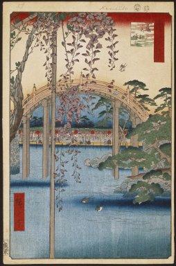 Utagawa Hiroshige (Ando) (Japanese, 1797-1858). Inside Kameido Tenjin Shrine (Kameido Tenjin Keidai), No. 65 from One Hundred Famous Views of Edo, 7th month of 1856. Woodblock print, Image: 13 7/16 x 8 3/4 in. (34.1 x 22.2 cm). Brooklyn Museum, Gift of Anna Ferris, 30.1478.65