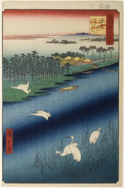Utagawa Hiroshige (Ando) (Japanese, 1797-1858). Sakasai Ferry, No. 67 from One Hundred Famous Views of Edo, 2nd month of 1857. Woodblock print, Image: 13 1/2 x 9 in. (34.3 x 22.9 cm). Brooklyn Museum, Gift of Anna Ferris, 30.1478.67