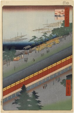 Utagawa Hiroshige (Ando) (Japanese, 1797-1858). Hall of Thirty-Three Bays, Fukagawa, No. 69 from One Hundred Famous Views of Edo, 8th month of 1857. Woodblock print, Sheet: 14 1/4 x 9 5/16 in. (36.2 x 23.7 cm). Brooklyn Museum, Gift of Anna Ferris, 30.1478.69