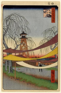 Utagawa Hiroshige (Ando) (Japanese, 1797-1858). Hatsune Riding Grounds, Bakuro-cho, No. 6 in One Hundred Famous Views of Edo, 9th month of 1857. Woodblock print, Image: 13 1/4 x 8 5/8 in. (33.7 x 21.9 cm). Brooklyn Museum, Gift of Anna Ferris, 30.1478.6