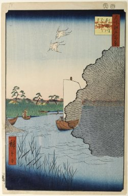 Utagawa Hiroshige (Ando) (Japanese, 1797-1858). Scattered Pines, Tone River, No. 71 from One Hundred Famous Views of Edo, 8th month of 1856. Woodblock print, Image: 13 1/4 x 8 11/16 in. (33.7 x 22 cm). Brooklyn Museum, Gift of Anna Ferris, 30.1478.71