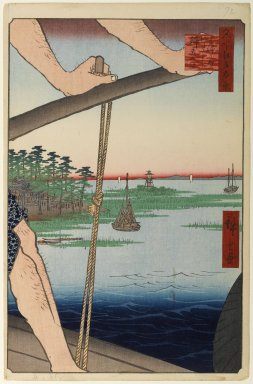 Brooklyn Museum: Haneda Ferry and Benten Shrine (Haneda no Watashi Benten), No. 72 from One Hundred Famous Views of Edo