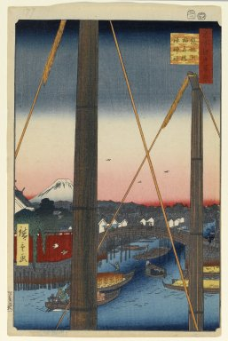 Utagawa Hiroshige (Ando) (Japanese, 1797-1858). Inari Bridge and Minato Shrine, Teppozu, No. 77 from One Hundred Famous Views of Edo, 2nd month of 1857. Woodblock print, Sheet: 14 3/16 x 9 1/4 in. (36 x 23.5 cm). Brooklyn Museum, Gift of Anna Ferris, 30.1478.77