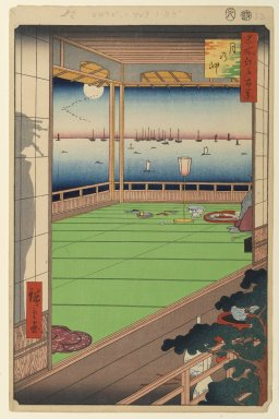 Utagawa Hiroshige (Ando) (Japanese, 1797-1858). Moon-Viewing Point, No. 82 from One Hundred Famous Views of Edo, 8th month of 1857. Woodblock print, Sheet: 14 3/16 x 9 1/4 in. (36 x 23.5 cm). Brooklyn Museum, Gift of Anna Ferris, 30.1478.82