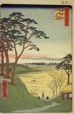 Utagawa Hiroshige (Ando) (Japanese, 1797-1858). Grandpa's Teahouse, Meguro, No. 84 from One Hundred Famous Views of Edo, 4th month of 1857. Woodblock print, Sheet: 14 3/16 x 9 1/4 in. (36 x 23.5 cm). Brooklyn Museum, Gift of Anna Ferris, 30.1478.84