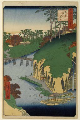 Utagawa Hiroshige (Ando) (Japanese, 1797-1858). Takinogawa, Oji, No. 88 from One Hundred Famous Views of Edo, 4th month of 1856. Woodblock print, Sheet: 14 3/16 x 9 1/4 in. (36 x 23.5 cm). Brooklyn Museum, Gift of Anna Ferris, 30.1478.88