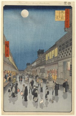 Utagawa Hiroshige (Ando) (Japanese, 1797-1858). Night View of Saruwaka-machi (Saruwaka-machi Yoru no Kei), No. 90 from One Hundred Famous Views of Edo, 9th month of 1856. Woodblock print, 14 1/4 x 9 1/4in. (36.2 x 23.5cm). Brooklyn Museum, Gift of Anna Ferris, 30.1478.90