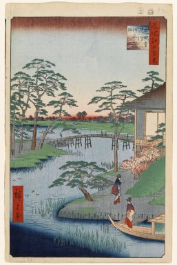 Utagawa Hiroshige (Ando) (Japanese, 1797-1858). Mokuboji Temple, Uchigawa Inlet, Gozensaihata, No. 92 from One Hundred Famous Views of Edo, 8th month of 1857. Woodblock print, Sheet: 14 3/16 x 9 1/4 in. (36 x 23.5 cm). Brooklyn Museum, Gift of Anna Ferris, 30.1478.92