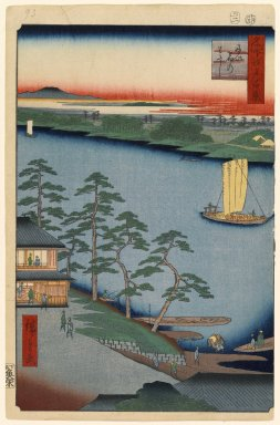 Utagawa Hiroshige (Ando) (Japanese, 1797-1858). Niijuku Ferry, No. 93 from One Hundred Famous Views of Edo, 2nd month of 1857. Woodblock print, Sheet: 14 3/16 x 9 1/4 in. (36 x 23.5 cm). Brooklyn Museum, Gift of Anna Ferris, 30.1478.93
