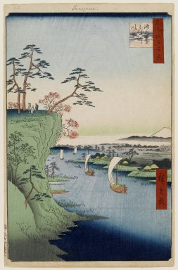 Utagawa Hiroshige (Ando) (Japanese, 1797-1858). View of Konodai and the Tone River, No. 95 from One Hundred Famous Views of Edo, 5th month of 1856. Woodblock print, Sheet: 14 3/16 x 9 1/4 in. (36 x 23.5 cm). Brooklyn Museum, Gift of Anna Ferris, 30.1478.95