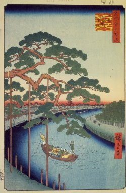 Utagawa Hiroshige (Ando) (Japanese, 1797-1858). Five Pines, Onagi Canal, No. 97 from One Hundred Famous Views of Edo, 7th month of 1856. Woodblock print, Sheet: 14 3/16 x 9 1/4 in. (36 x 23.5 cm). Brooklyn Museum, Gift of Anna Ferris, 30.1478.97