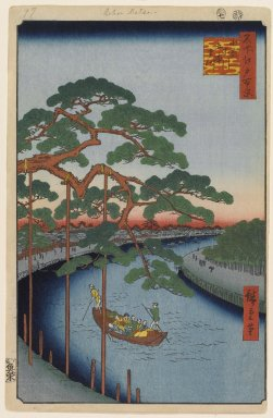 Brooklyn Museum: Five Pines, Onagi Canal, No. 97 from One Hundred Famous Views of Edo