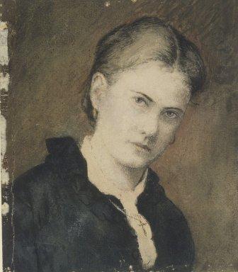Ralph Albert Blakelock (American, 1847-1919). Portrait of Artist's Wife. Watercolor Brooklyn Museum, Museum Collection Fund, 30.58