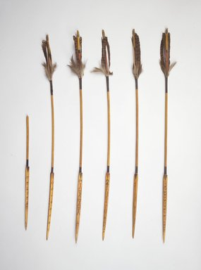 Frank Hamilton Cushing (American). Kiowa Arrow, 1 of 6, 19th century. Wood, feathers, fiber, pigment, length: 26 1/2 in. (67.3 cm). Brooklyn Museum, Estate of Stewart Culin, Museum Purchase, 30.780.4. Creative Commons-BY