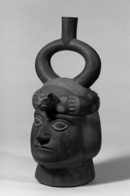 Moche. Male Portrait Jar, Brown, Red and White. Ceramic Brooklyn Museum, 30.887. Creative Commons-BY