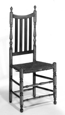 American. Chair - Turned with Bannister Back and Rush Seat, ca. 1725-1750. Maple, 43 1/4 x 18 3/4 x 13 3/8 in. (109.9 x 47.6 x 34 cm). Brooklyn Museum, Henry L. Batterman Fund, 30.92. Creative Commons-BY