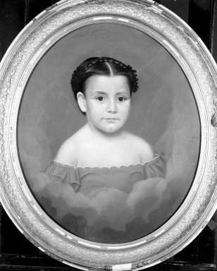 William Hudson Jr. (American, 1787-after 1858). Portrait of a Child, 1855. Pastel on paper mounted over canvas on oval stretcher, 25 x 20 3/8 in. (63.5 x 51.8 cm). Brooklyn Museum, Gift of Mrs. Minor C. Keith in memory of her husband, 31.1755