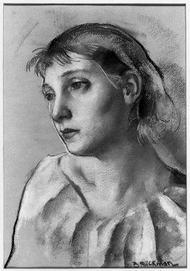 Robert Brackman (American, 1896-1980). Head of Young Woman, ca. 1930. Pastel on peach paper, 20 5/8 x 16 3/4 in. (52.4 x 42.5 cm), irregular. Brooklyn Museum, Gift of Frank L. Babbott, 31.191. © Estate of Robert Brackman
