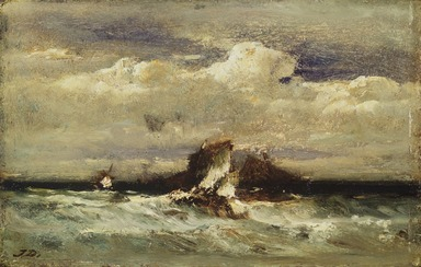 Jules Dupré (French, 1811-1889). Seascape, ca. 1868-1881. Oil on panel, 6 x 9 3/8 in. (15.2 x 23.8 cm). Brooklyn Museum, Bequest of Clara L. Obrig, 31.193