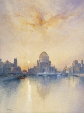 Thomas Moran (American, 1837-1926). Chicago World's Fair, 1894. Transparent watercolor with opaque white highlights and graphite on cream, moderately thick, moderately textured wove paper, 29 x 21 9/16 in. (73.7 x 54.8 cm). Brooklyn Museum, Bequest of Clara L. Obrig, 31.194