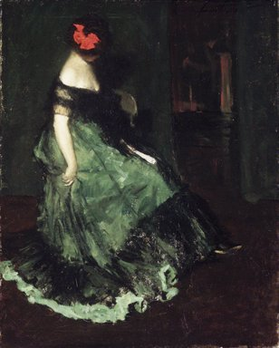 Charles W. Hawthorne (American, 1872-1930). The Red Bow, 1902. Oil on canvas, 29 13/16 x 24 1/8 in. (75.8 x 61.2 cm). Brooklyn Museum, Bequest of Clara L. Obrig, 31.198