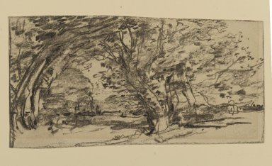 Joseph Frank Currier (American, 1843-1909). Study of Trees, ca. 1880. Charcoal on cream, medium weight, slightly textured laid paper, sheet: 3 7/8 x 7 7/16 in. (9.8 x 18.9 cm). Brooklyn Museum, Gift of Mrs. John White Alexander, 31.202.4