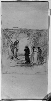 Robert Loftin Newman (American, 1827-1912). Study for the Mary's at the Tomb, n.d. Charcoal on paper, Sheet: 6 1/8 x 2 15/16 in. (15.6 x 7.5 cm). Brooklyn Museum, Museum Collection Fund, 31.205b