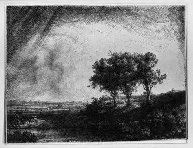 Rembrandt Harmensz. van Rijn (Dutch, 1606-1669). The Three Trees, 1643. Etching, drypoint, and engraving on laid paper, Plate: 8 7/16 x 11 in. (21.4 x 27.9 cm). Brooklyn Museum, Gift of Mr. and Mrs. William A. Putnam, 31.780