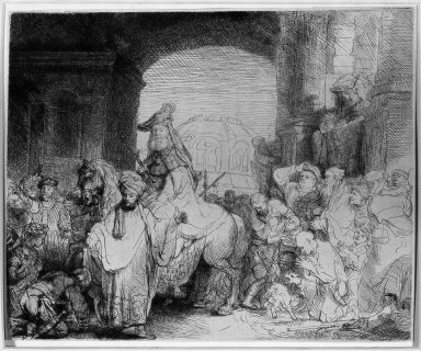 Rembrandt Harmensz. van Rijn (Dutch, 1606-1669). The Triumph of Mordecai, ca. 1641. Etching and drypoint on laid paper, Plate: 6 3/4 x 8 1/2 in. (17.1 x 21.6 cm). Brooklyn Museum, Gift of Mr. and Mrs. William A. Putnam, 31.786