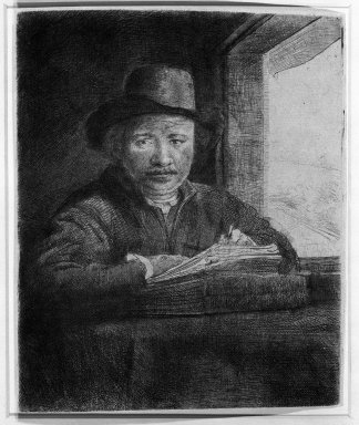 Brooklyn Museum: Self-Portrait Drawing at a Window