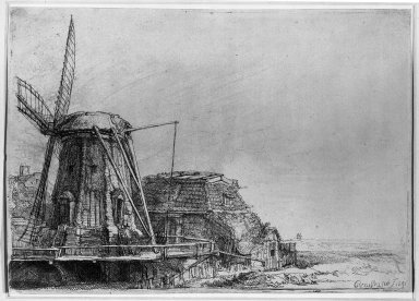 Rembrandt Harmensz. van Rijn (Dutch, 1606-1669). The Windmill, 1641. Etching on laid paper, Plate: 5 13/16 x 8 1/4 in. (14.8 x 21 cm). Brooklyn Museum, Gift of Mr. and Mrs. William A. Putnam, 31.792