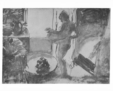 Edgar Degas (French, 1834-1917). Nude Woman Drying Herself (Femme au Tub), ca. 1884-1886. Oil on canvas, 59 3/8 x 84 1/8 in. (150.8 x 213.7 cm). Brooklyn Museum, Carll H. de Silver Fund, 31.813