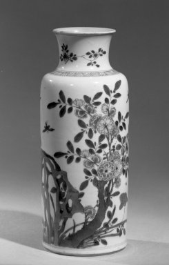 Vase, 1662-1722. Porcelain with cobalt-blue underglaze, 10 13/16 x 4 5/8 in. (27.5 x 11.7 cm). Brooklyn Museum, Gift of the executors of the Estate of Colonel Michael Friedsam, 32.1011. Creative Commons-BY