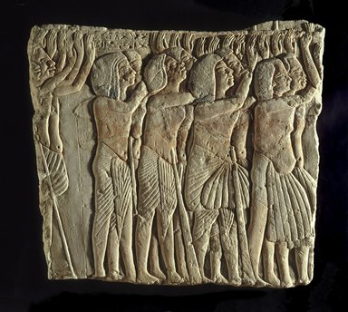 Soldiers Honoring Their Lord, ca. 1336-1327 B.C.E. Limestone, pigment, 16 7/16 x 14 7/16 in. (41.8 x 36.6 cm). Brooklyn Museum, Charles Edwin Wilbour Fund, 32.103. Creative Commons-BY