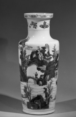 Rouleau Vase, 1662-1722. Porcelain with cobalt-blue underglaze decoration, 18 3/4 x 7 7/8 in. (47.6 x 20 cm). Brooklyn Museum, Gift of the executors of the Estate of Colonel Michael Friedsam, 32.1058. Creative Commons-BY