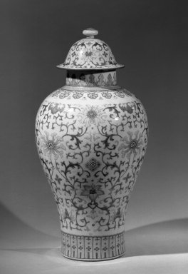 Pair of Large Covered Baluster Shaped Vases, late 18th century. Porcelain with famille rose decoration, 18 1/16 x 8 15/16 in. (45.8 x 22.7 cm). Brooklyn Museum, Gift of the executors of the Estate of Colonel Michael Friedsam, 32.1115.1a-b. Creative Commons-BY
