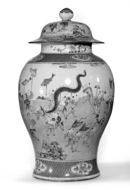 Jar with Cover, One of Pair, late 18th century. Porcelain with famille rose decoration, 19 5/16 x 10 13/16 in. (49 x 27.5 cm). Brooklyn Museum, Gift of the executors of the Estate of Colonel Michael Friedsam, 32.1125.2a-b. Creative Commons-BY