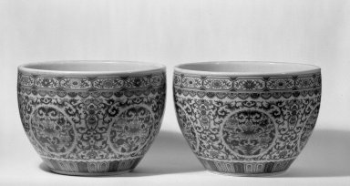 Pair of Bowls (Gang), 1736-1795. Porcelain with overglaze enamel (doucai) decoration, 1: 9 1/16 x 13 in. (23 x 33 cm). Brooklyn Museum, Gift of the executors of the Estate of Colonel Michael Friedsam, 32.1130.1-.2. Creative Commons-BY