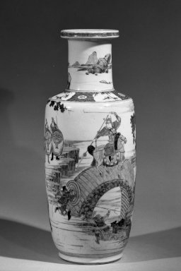 Vase, 1662-1722. Porcelain with overglaze enamel (wucai) decoration, 18 1/4 x 7 5/16 in. (46.4 x 18.5 cm). Brooklyn Museum, Gift of the executors of the Estate of Colonel Michael Friedsam, 32.1134. Creative Commons-BY
