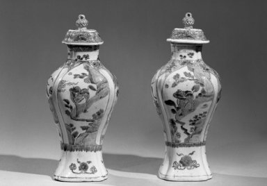 Jar with Cover, 1662-1772. Porcelain with polychrome overglaze enamel (wucai) decoration, 12 1/4 x 5 3/8 in. (31.1 x 13.7 cm). Brooklyn Museum, Gift of the executors of the Estate of Colonel Michael Friedsam, 32.1190.2a-b. Creative Commons-BY